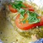 Kippakketjes met pesto en mozzarella