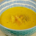 Soep van gele paprika en prei